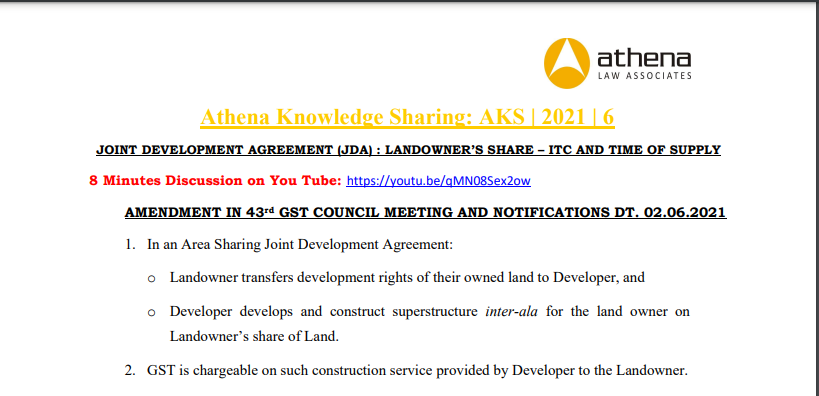 Joint Development Agreement (JDA): Landowner's Share – ITC And Time of Supply.