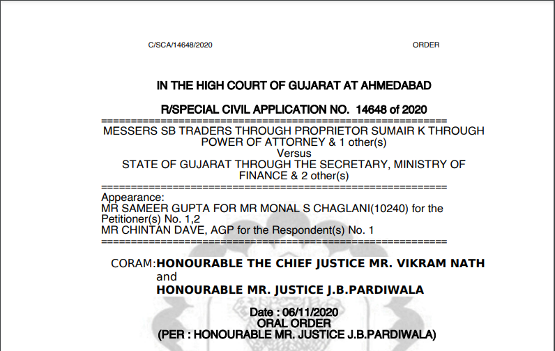 Gujarat HC in the case of Messers SB Traders Versus State of Gujarat