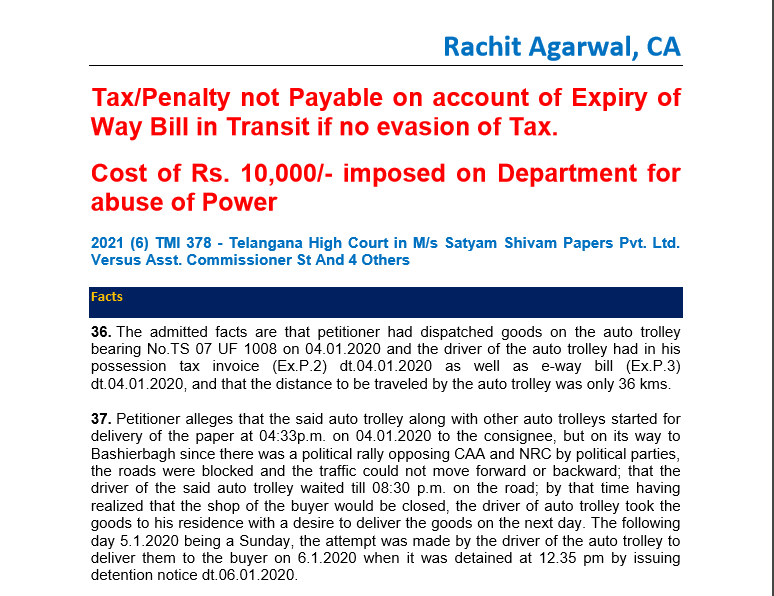 Tax/Penalty not Payable on account of Expiry of Way Bill in Transit if no evasion of Tax.