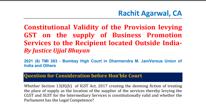 Constitutional Validity of the Provision levying GST on the supply of Business Promotion Services to the Recipient located Outside India