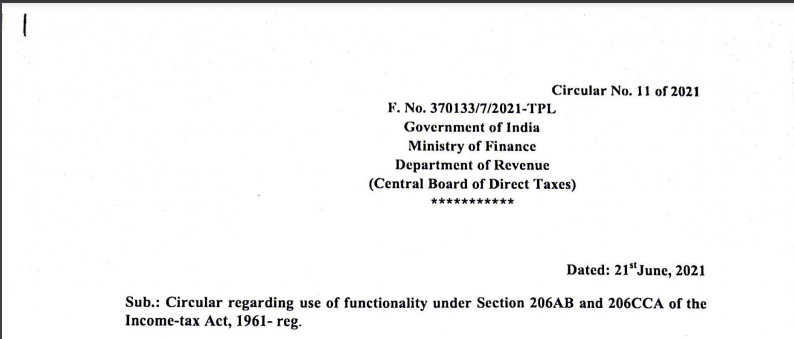 CBDT issues Circular regarding use of functionality under Section 206AB and 206CCA of the Income-tax Act, 1961