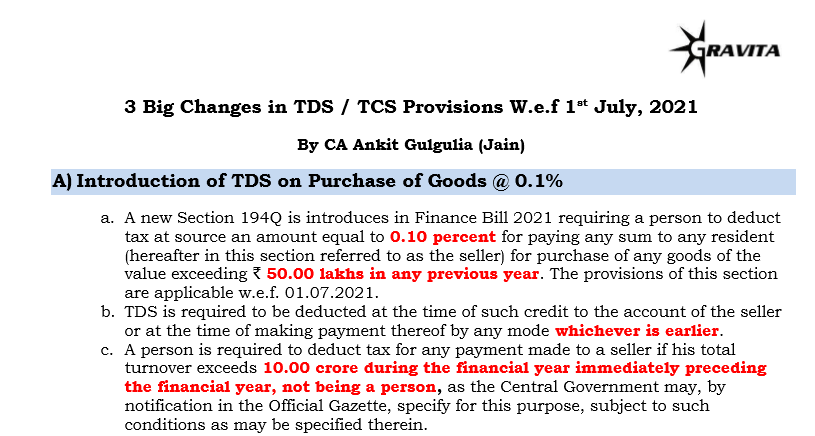3 Big Changes in TDS / TCS Provisions w.e.f 1st July 2021.
