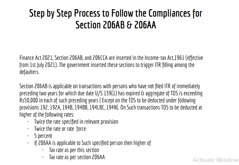 Step by Step Process to Follow the Compliances for Section 206AB & 206AA