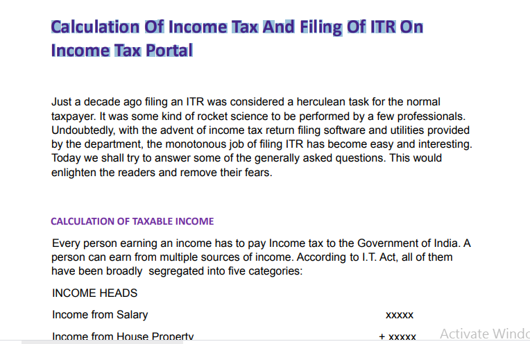 Calculation Of Income Tax And Filing Of ITR On Income Tax Portal