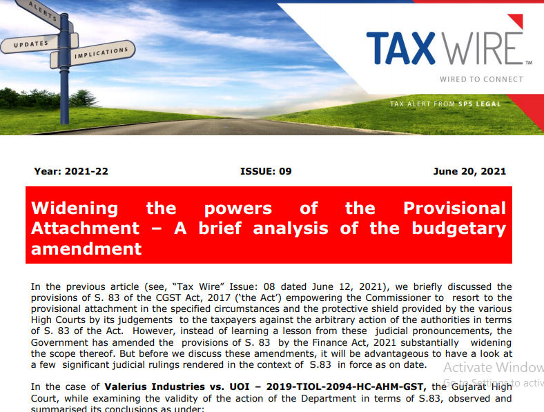 Widening the powers of the Provisional Attachment – A brief analysis of the budgetary amendment