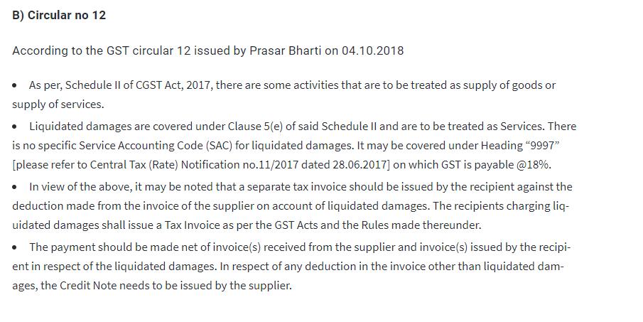 GST on Liquidated Damages