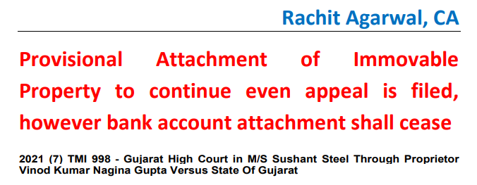 Provisional Attachment of Immovable Property to continue even appeal is filed, however bank account attachment shall cease