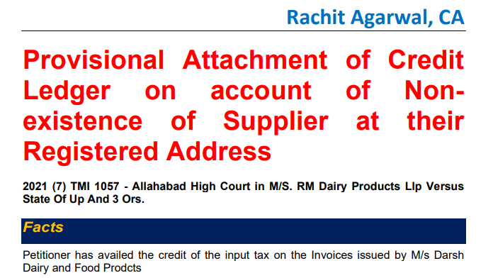 Provisional Attachment of Credit Ledger on account of Nonexistence of Supplier at their Registered Address