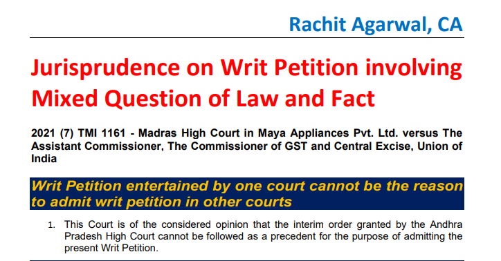 Jurisprudence on Writ Petition involving Mixed Question of Law and Fact