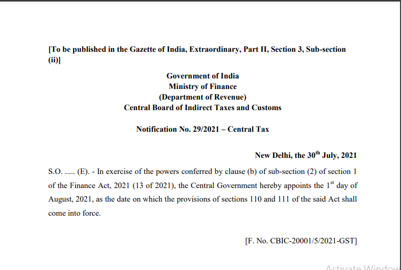 Notification No. 29/2021 – Central Tax