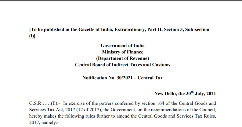 Notification No. 30/2021 – Central Tax