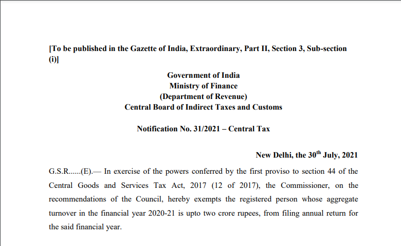 Notification No. 31/2021 – Central Tax