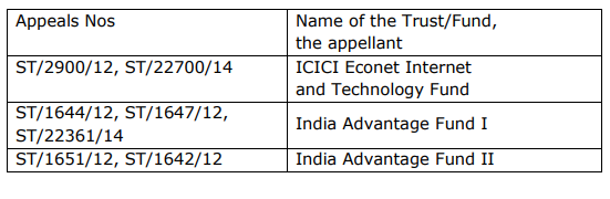 CESTAT Order in the case of M/s. ICICI Econet Internet And Technology Fund