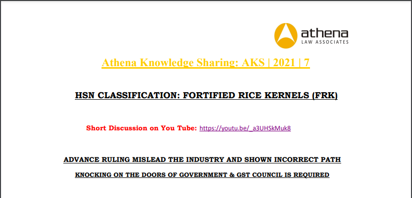 HSN Classification: Fortified Rice Kernels (FRK)