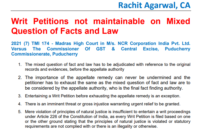 Writ Petitions not maintainable on Mixed Question of Facts and Law