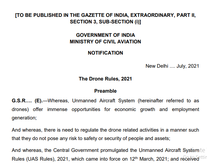 Government notifies the draft of Drone Rules, 2021