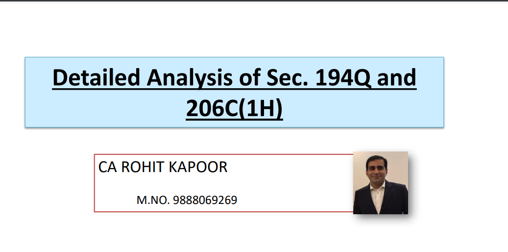 Detailed Analysis of Sec. 194Q and 206C(1H).