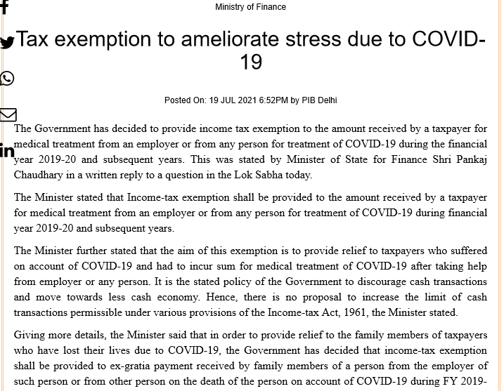 Tax exemption to ameliorate stress due to COVID-19: PIB
