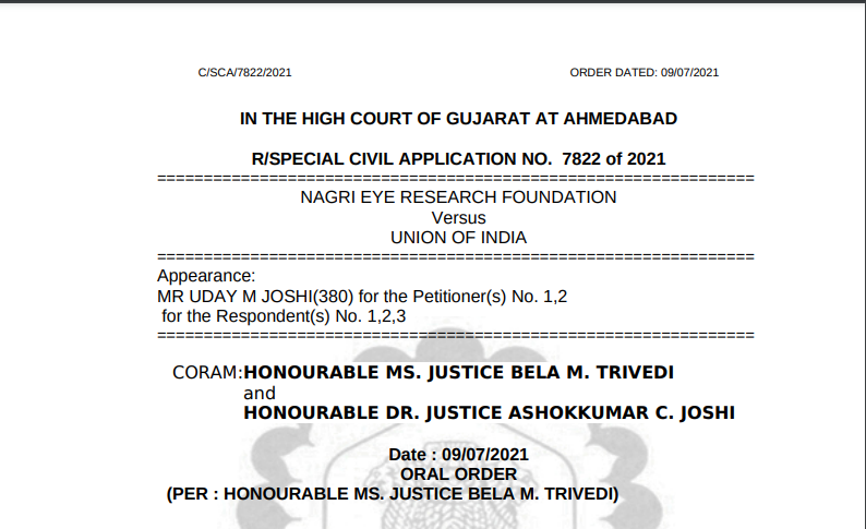 Gujarat HC Order in the case of Nagri Eye Research Foundation Versus Union Of India