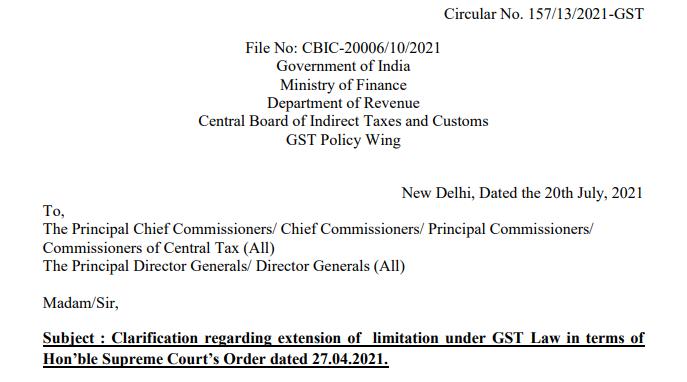 Circular No. 157/13/2021-GST
