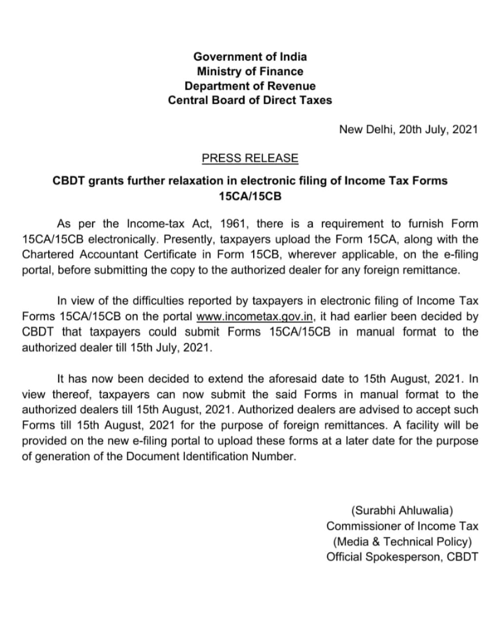 CBDT grants further relaxation in electronic filing of Income Tax Forms 15CA/15CB