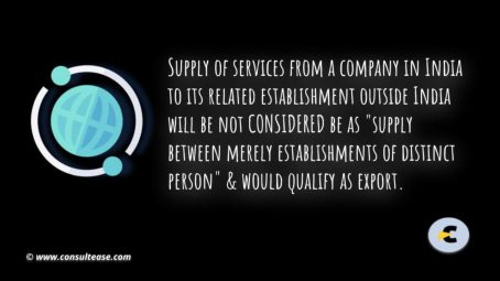 taxability of exports of services between establishments of distinct person (2)