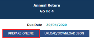 click on the prepare online button for filling form gstr-4