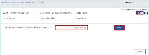 now the gstr-4 annual return will display on-page. here you will have to enter the aggregate turnover of previous fy & click save